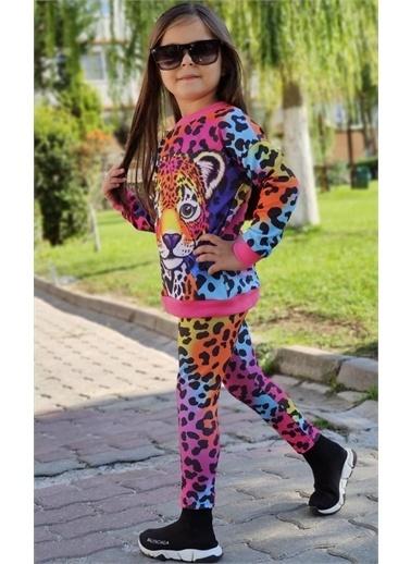 Riccotarz Kız Çocuk Renkli Leopar Eşofman Takım Renkli